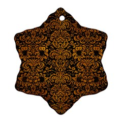 Damask2 Black Marble & Yellow Grunge (r) Snowflake Ornament (two Sides)