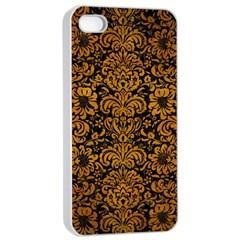 Damask2 Black Marble & Yellow Grunge (r) Apple Iphone 4/4s Seamless Case (white)