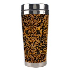 Damask2 Black Marble & Yellow Grunge (r) Stainless Steel Travel Tumblers