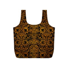 Damask2 Black Marble & Yellow Grunge (r) Full Print Recycle Bags (s)