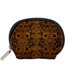 Damask2 Black Marble & Yellow Grunge (r) Accessory Pouches (small)