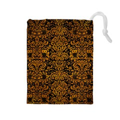 Damask2 Black Marble & Yellow Grunge (r) Drawstring Pouches (large)
