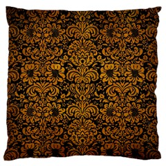Damask2 Black Marble & Yellow Grunge (r) Standard Flano Cushion Case (two Sides)