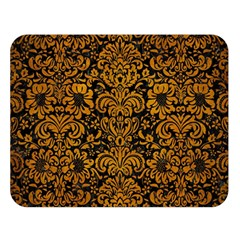 Damask2 Black Marble & Yellow Grunge (r) Double Sided Flano Blanket (large)