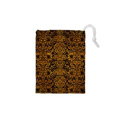 Damask2 Black Marble & Yellow Grunge (r) Drawstring Pouches (xs)