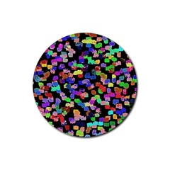 Colorful Paint Strokes On A Black Background                                Rubber Round Coaster (4 Pack)