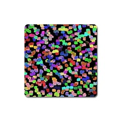 Colorful Paint Strokes On A Black Background                                Magnet (square)