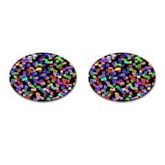 Colorful Paint Strokes On A Black Background                                Cufflinks (oval)