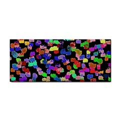 Colorful Paint Strokes On A Black Background                                Hand Towel