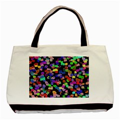 Colorful Paint Strokes On A Black Background                                Basic Tote Bag