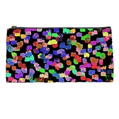 Colorful Paint Strokes On A Black Background                          Pencil Case