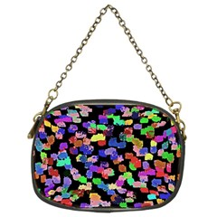 Colorful Paint Strokes On A Black Background                           Chain Purse (two Sides)