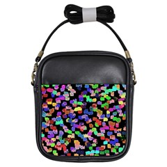 Colorful Paint Strokes On A Black Background                                Girls Sling Bag
