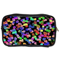 Colorful Paint Strokes On A Black Background                                Toiletries Bag (two Sides)