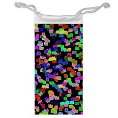 Colorful Paint Strokes On A Black Background                                Jewelry Bag