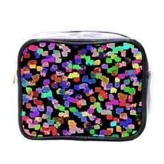 Colorful Paint Strokes On A Black Background                                Mini Toiletries Bag (one Side)