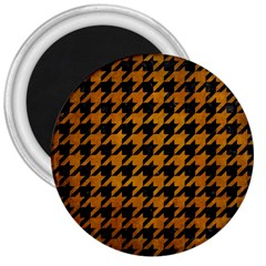 Houndstooth1 Black Marble & Yellow Grunge 3  Magnets