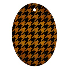 Houndstooth1 Black Marble & Yellow Grunge Ornament (oval)