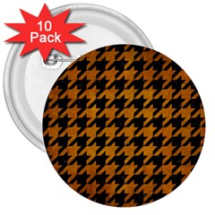 Houndstooth1 Black Marble & Yellow Grunge 3  Buttons (10 Pack)