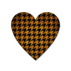 Houndstooth1 Black Marble & Yellow Grunge Heart Magnet