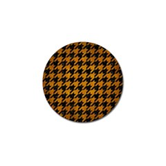 Houndstooth1 Black Marble & Yellow Grunge Golf Ball Marker (10 Pack)