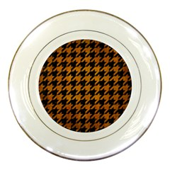 Houndstooth1 Black Marble & Yellow Grunge Porcelain Plates