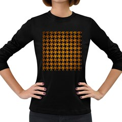 Houndstooth1 Black Marble & Yellow Grunge Women s Long Sleeve Dark T Shirts