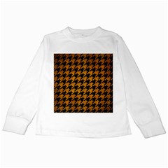 Houndstooth1 Black Marble & Yellow Grunge Kids Long Sleeve T Shirts