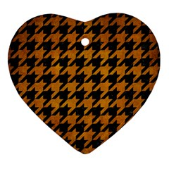 Houndstooth1 Black Marble & Yellow Grunge Heart Ornament (two Sides)