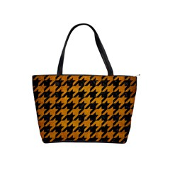 Houndstooth1 Black Marble & Yellow Grunge Shoulder Handbags