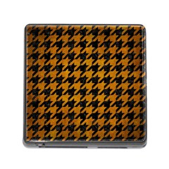 Houndstooth1 Black Marble & Yellow Grunge Memory Card Reader (square)