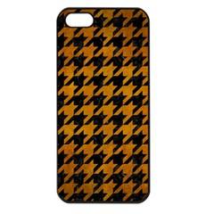 Houndstooth1 Black Marble & Yellow Grunge Apple Iphone 5 Seamless Case (black)