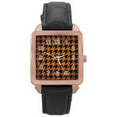 Houndstooth1 Black Marble & Yellow Grunge Rose Gold Leather Watch