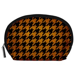 Houndstooth1 Black Marble & Yellow Grunge Accessory Pouches (large)