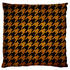 Houndstooth1 Black Marble & Yellow Grunge Large Flano Cushion Case (two Sides)