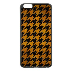 Houndstooth1 Black Marble & Yellow Grunge Apple Iphone 6 Plus/6s Plus Black Enamel Case