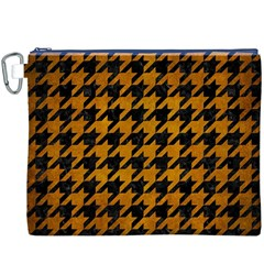 Houndstooth1 Black Marble & Yellow Grunge Canvas Cosmetic Bag (xxxl)
