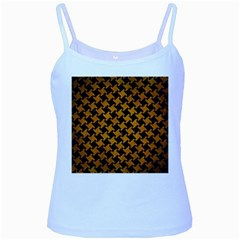 Houndstooth2 Black Marble & Yellow Grunge Baby Blue Spaghetti Tank