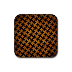 Houndstooth2 Black Marble & Yellow Grunge Rubber Coaster (square)