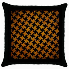 Houndstooth2 Black Marble & Yellow Grunge Throw Pillow Case (black)