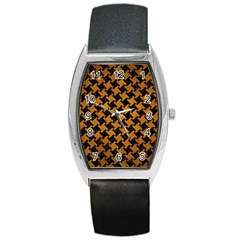 Houndstooth2 Black Marble & Yellow Grunge Barrel Style Metal Watch