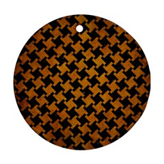 Houndstooth2 Black Marble & Yellow Grunge Round Ornament (two Sides)