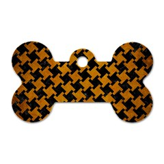 Houndstooth2 Black Marble & Yellow Grunge Dog Tag Bone (one Side)