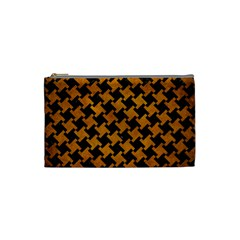 Houndstooth2 Black Marble & Yellow Grunge Cosmetic Bag (small)