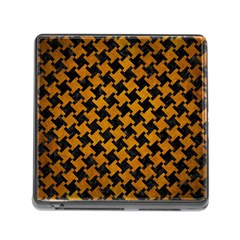 Houndstooth2 Black Marble & Yellow Grunge Memory Card Reader (square)