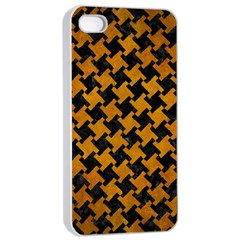 Houndstooth2 Black Marble & Yellow Grunge Apple Iphone 4/4s Seamless Case (white)