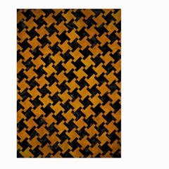 Houndstooth2 Black Marble & Yellow Grunge Large Garden Flag (two Sides)