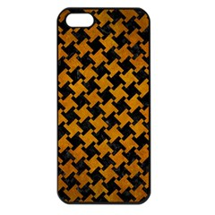 Houndstooth2 Black Marble & Yellow Grunge Apple Iphone 5 Seamless Case (black)