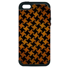 Houndstooth2 Black Marble & Yellow Grunge Apple Iphone 5 Hardshell Case (pc+silicone)