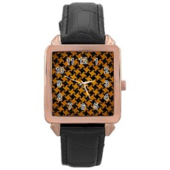 Houndstooth2 Black Marble & Yellow Grunge Rose Gold Leather Watch